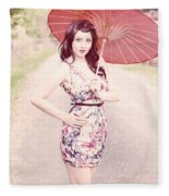 Lady With Red Parasol Fleece Blanket