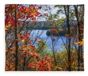 Lake And Fall Forest Fleece Blanket