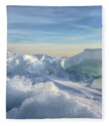 Lake Erie Ice Sunrise Fleece Blanket