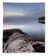 Lake In Autumn Sunrise Reflection Fleece Blanket