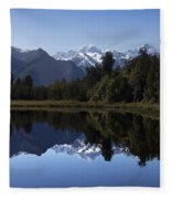 Lake Matheson New Zealand Fleece Blanket