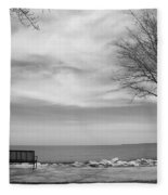 Lake Tree And Park Bench Fleece Blanket