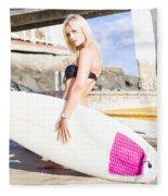 Landscape Surfing Portrait Fleece Blanket