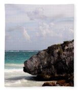 Large Boulder On A Caribbean Beach Fleece Blanket