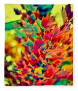 Leaves In Abstract Fleece Blanket