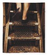 Legs Of A Bushwalking Man Climbing Wooden Stairs Fleece Blanket