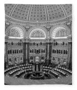 Library Of Congress Main Reading Room Fleece Blanket
