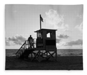 Lifeguard Hut On The Beach, 22nd St Fleece Blanket