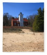 Lighthouse - 40 Mile Point Michigan Fleece Blanket