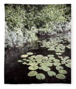 Lily Pads On Dark Water Fleece Blanket