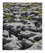 Limestone In The Burren Fleece Blanket