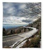 Linn Cove Viaduct During Winter Near Blowing Rock Nc Fleece Blanket