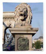 Lion Sculpture On Chain Bridge In Budapest Fleece Blanket