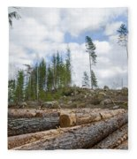 Logpile At A Clear Cut Area Fleece Blanket