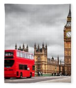 London The Uk Red Bus In Motion And Big Ben Fleece Blanket