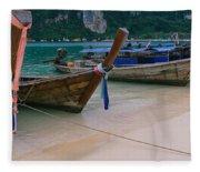 Longtail Boats Moored On The Beach Fleece Blanket