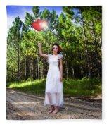 Love Heart Balloons  Fleece Blanket