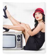 Lovely Asian Pinup Girl Posing On Vintage Tv Set Fleece Blanket