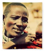 Maasai Baby Carried By His Mother In Tanzania Fleece Blanket