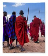 Maasai Men In Their Ritual Dance In Their Village In Tanzania Fleece Blanket