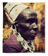 Maasai Old Woman Portrait In Tanzania Fleece Blanket