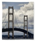 Mackinaw Bridge By The Straits Of Mackinac Fleece Blanket