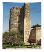 Maidens Tower In Baku Azerbaijan Fleece Blanket