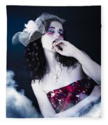 Makeup Beauty With Gothic Hair And Bloody Mouth Fleece Blanket
