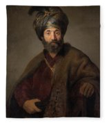 Man In Oriental Costume Fleece Blanket