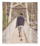 Man On Alexandra Suspension Bridge In Tasmania Fleece Blanket