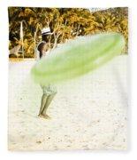 Man Playing Frisbee On Beach Fleece Blanket