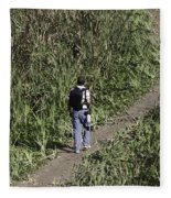 Man With A Canon Camera And Lens In Greenery Fleece Blanket