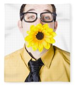 Man With Flower In Mouth Fleece Blanket