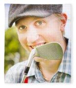 Man With Golf Club Fleece Blanket