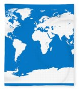 Map In Blue And White Fleece Blanket