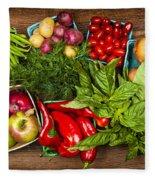 Market Fruits And Vegetables Fleece Blanket