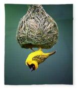 Masked Weaver At Nest Fleece Blanket