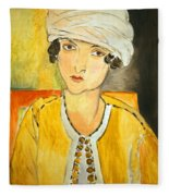 Matisse's Lorette With Turban And Yellow Jacket Fleece Blanket