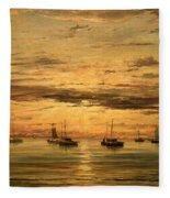 Mesdag's Sunset At Scheveningen -- A Fleet Of Shipping Vessels At Anchor Fleece Blanket