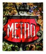 Metro Sign, Paris, France Fleece Blanket