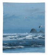 Misty Copalis Rock And Gulls Fleece Blanket