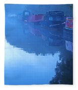 Misty Morning On The Grand Union Canal Fleece Blanket