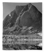 109644-bw-mitchell Peak, Wind Rivers Fleece Blanket