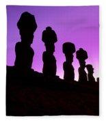 Moais Easter Island Chile Fleece Blanket