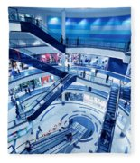 Modern Shopping Mall Interior Fleece Blanket