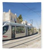 Modern Tram In Central Jerusalem Israel Fleece Blanket