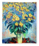 Monet's Jerusalem  Artichoke Flowers Fleece Blanket