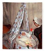 Monet's The Cradle -- Camille With Artist's Son Jean Fleece Blanket