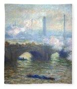 Monet's Waterloo Bridge On A Gray Day Fleece Blanket