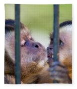 Monkey Species Cebus Apella Behind Bars Fleece Blanket